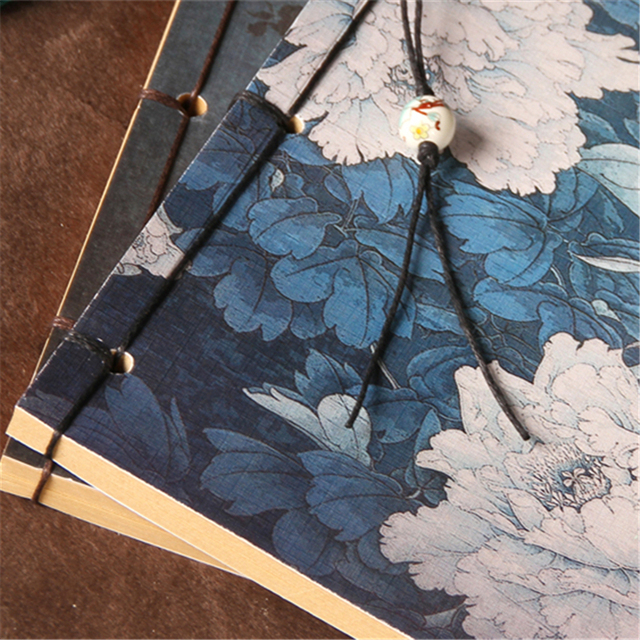 19.5*13.5cm carnet de notes de pivoine Vintage chinois Style ancien journal rétro fleur cahier pour enfants peinture Kraft carnet de croquis