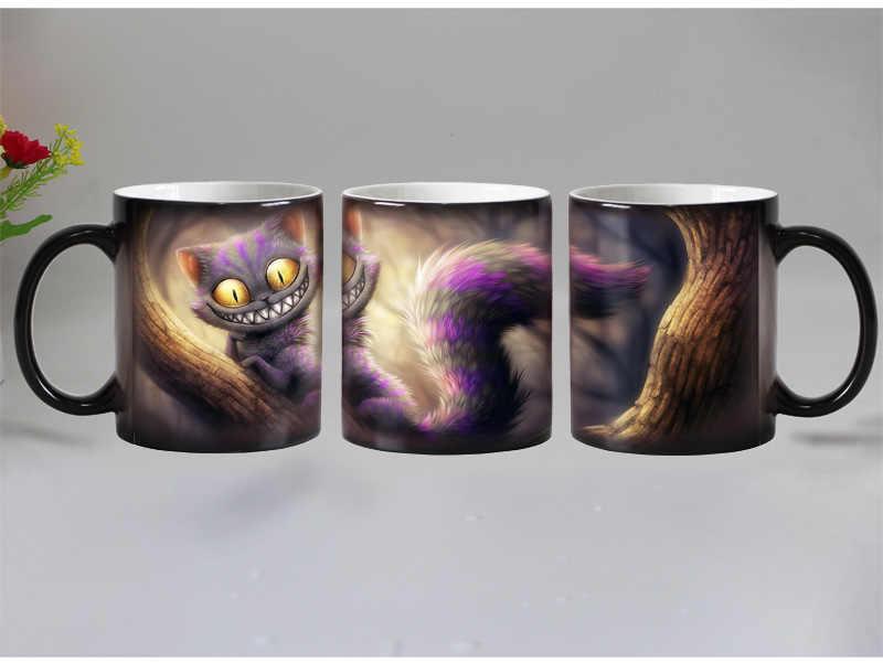 Darmowa wysyłka uśmiech kot zwierząt wrażliwy na ciepło kawy kufel kubek porcelany magiczny kolor zmiana kubki na herbatę prezent na boże narodzenie