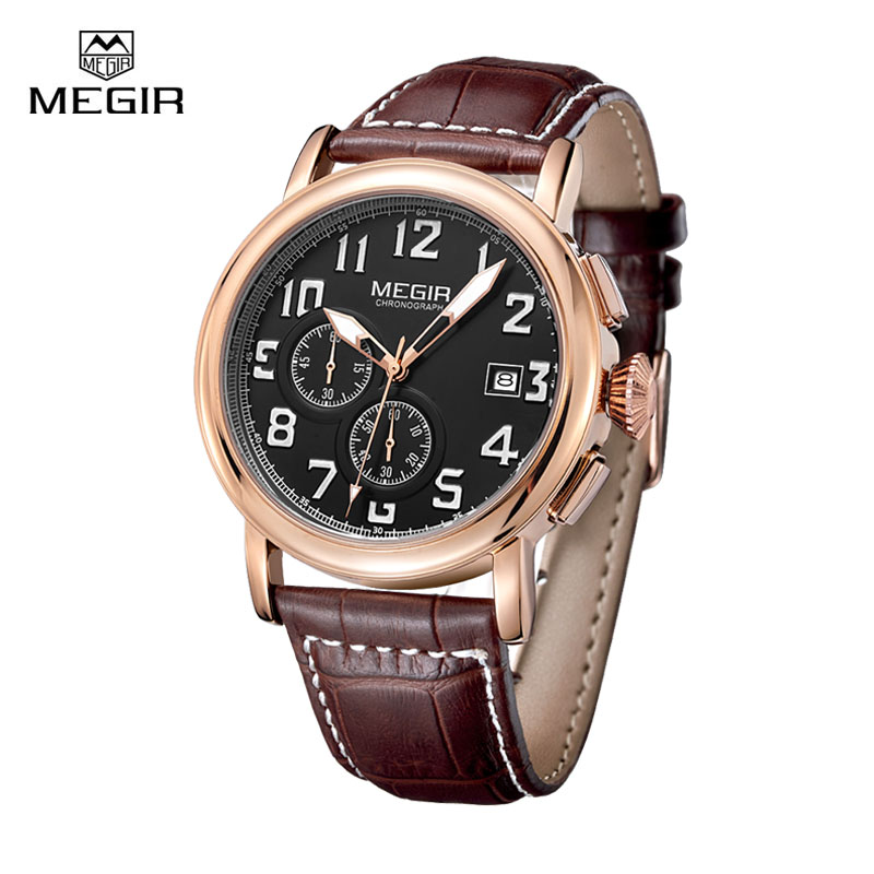 Megir Men Chronograph Watch Clock Leather Watchband Quartz Wrist Watches for Man Waterproof Sport Wristwatch montre homme megir mens watches leather strap square dial luxury quartz watch clock waterproof sport chronograph wristwatch montre for man