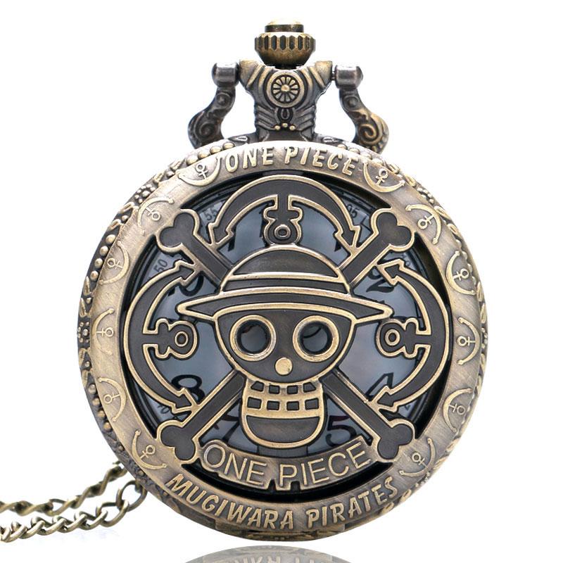 564afde0a Bronze Copper Vintage One Piece Theme Skull Pattern Hollow Quartz Pocket  Watch for Men Women Kids