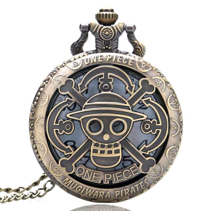 Bronze Copper Vintage One Piece Theme Skull Pattern Hollow Quartz Pocket Watch For Men Women Kids Gift Necklace Fob Watches