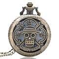 Bronze Copper Vintage One Piece Theme Skull Pattern Hollow Quartz Pocket Watch for Men Women Kids Gift Necklace Free Shipping