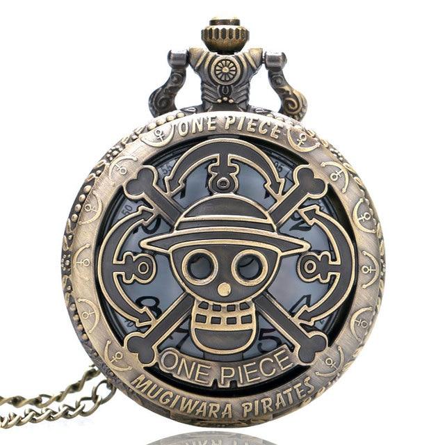 Bronze Copper Vintage One Piece Theme Skull Pattern Hollow Quartz Pocket Watch f