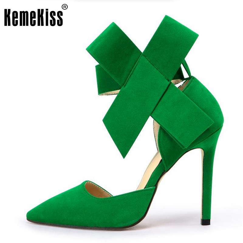 Ladies High Heels Genuine Leather Shoes Women Bowknot Thin Heels Pumps Pointed Toe Brand Women Shoes Sexy Footwear Size 33-43 size 33 43 r08323 ladies pointed toe real genuine leather flat shoes women bowknot sexy spring fashion footwear brand shoes