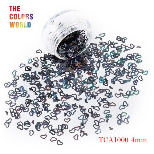 Tct-050 полые сердца Форма Лазерная красочные Глиттеры для ногтей 4 мм Размеры для ногтей Гели для ногтей украшения Макияж facepaint DIY украшения - Цвет: TCA1000  200g
