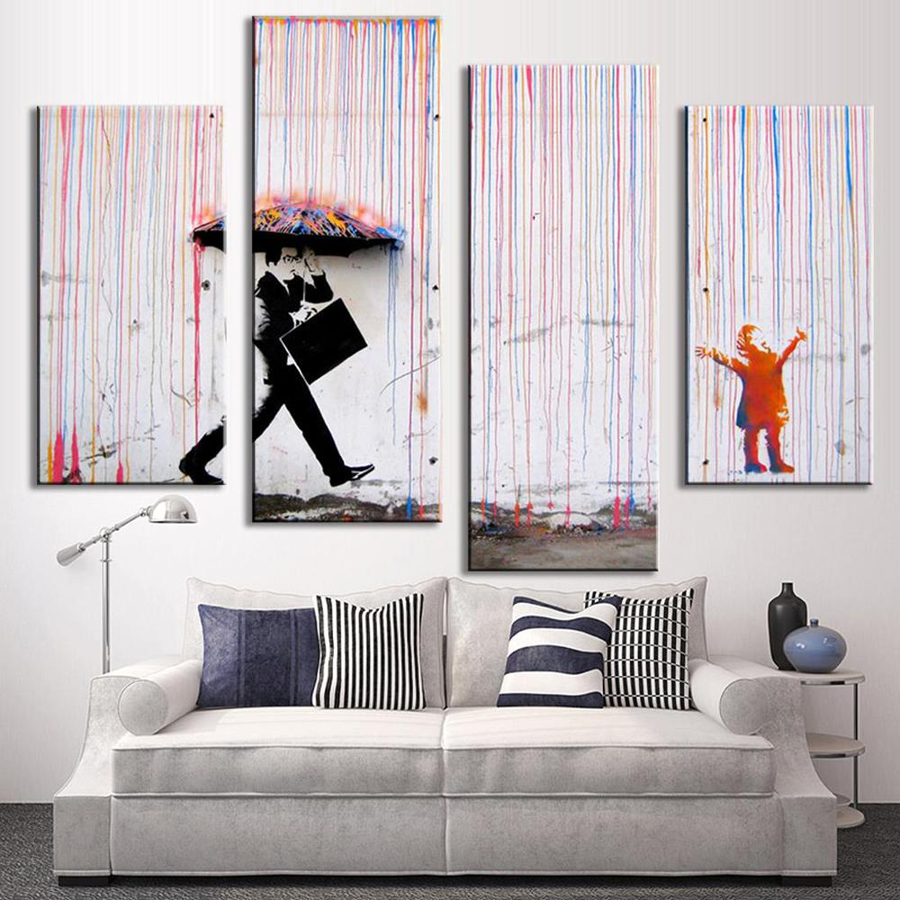 Hot Sell 4 Pcs/Set Banksy Art Colorful Rain oil painting paintings for living room wall colorful abstract oil paintings w0098