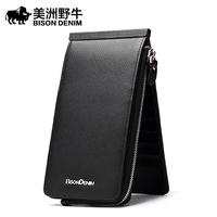 The Bison Men S Leather Multi Card Card Package Slim Long Wallet Card Bag Leather Men