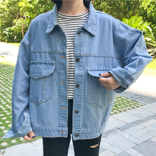 Women Spring and Autumn New Solid Plus Size Turn-down Collar Denim Jacket Female Casual Loose Single Breasted Jackets цены онлайн