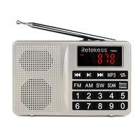 Retekess TR603 AM FM Короткие радиоволны транзистор Цифровая настройка приемник MP3 плеер Поддержка TF карты Перезаряжаемые Li-Ion Батарея