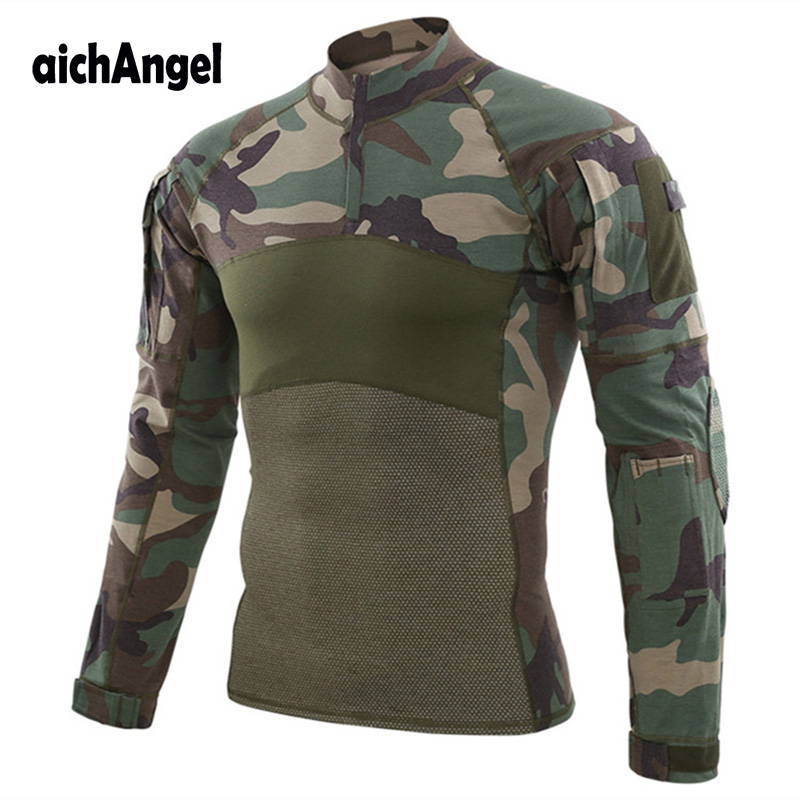 Tactical Army Combat Shirt Men Military Long Sleeve T Shirt Breathable Cotton Multicam Paintball Airsoft Uniform Outwear