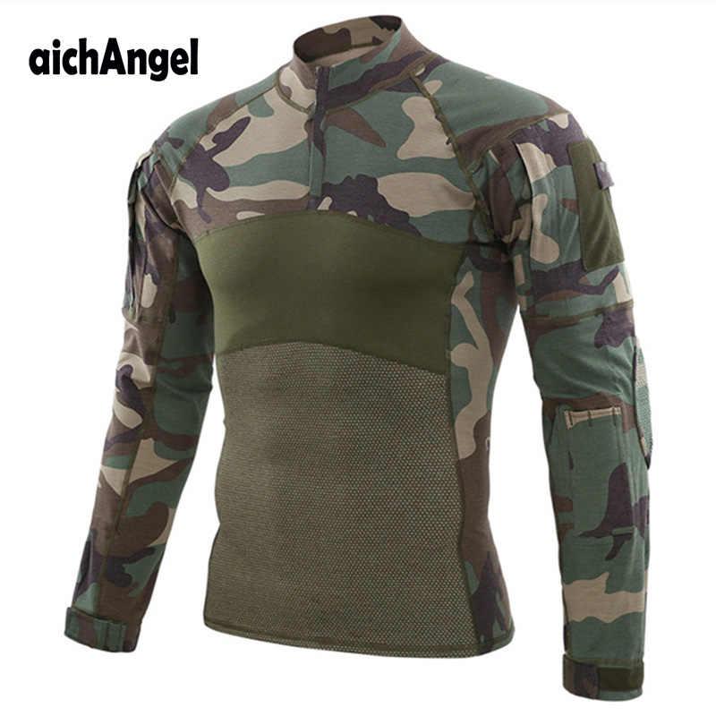 Tentara Taktis Tempur Kemeja Pria Militer Lengan Panjang T Shirt Bernapas Kapas MultiCam Paintball Airsoft Seragam Lebih Tahan Dr
