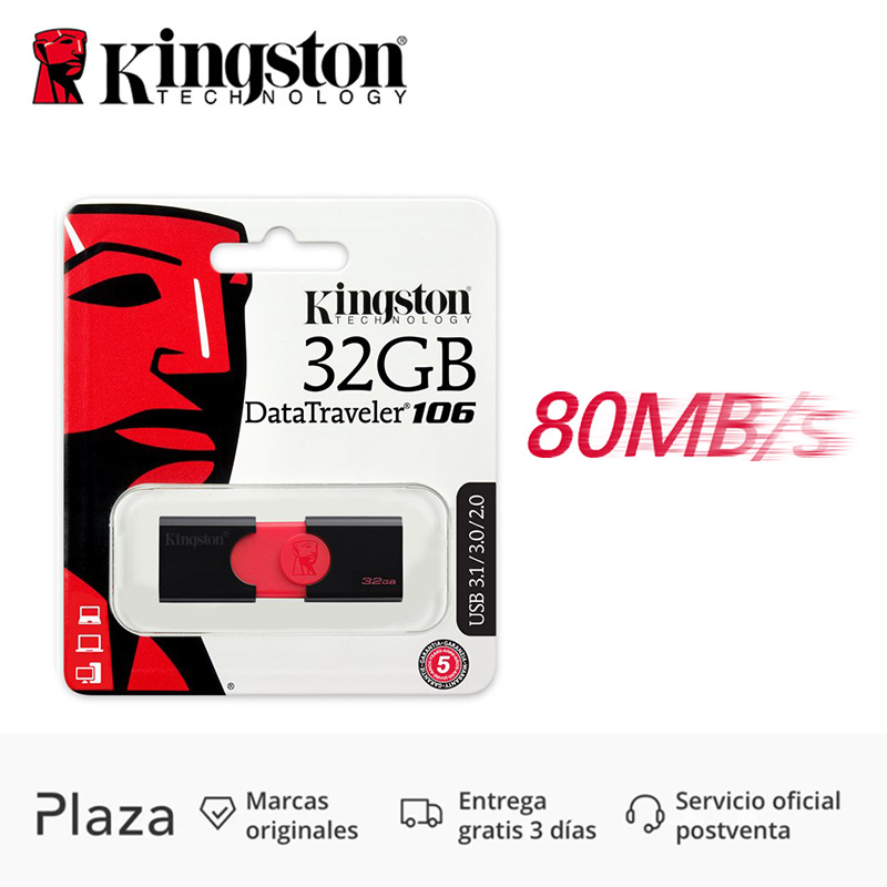 Original 80 MB/S USB 3,0 de alta velocidad 3,1 2,0 Kingston DataTraveler 106 Flash Drive 32 GB 32 GB Pendrive Stick pen Drive DT106 diapositiva