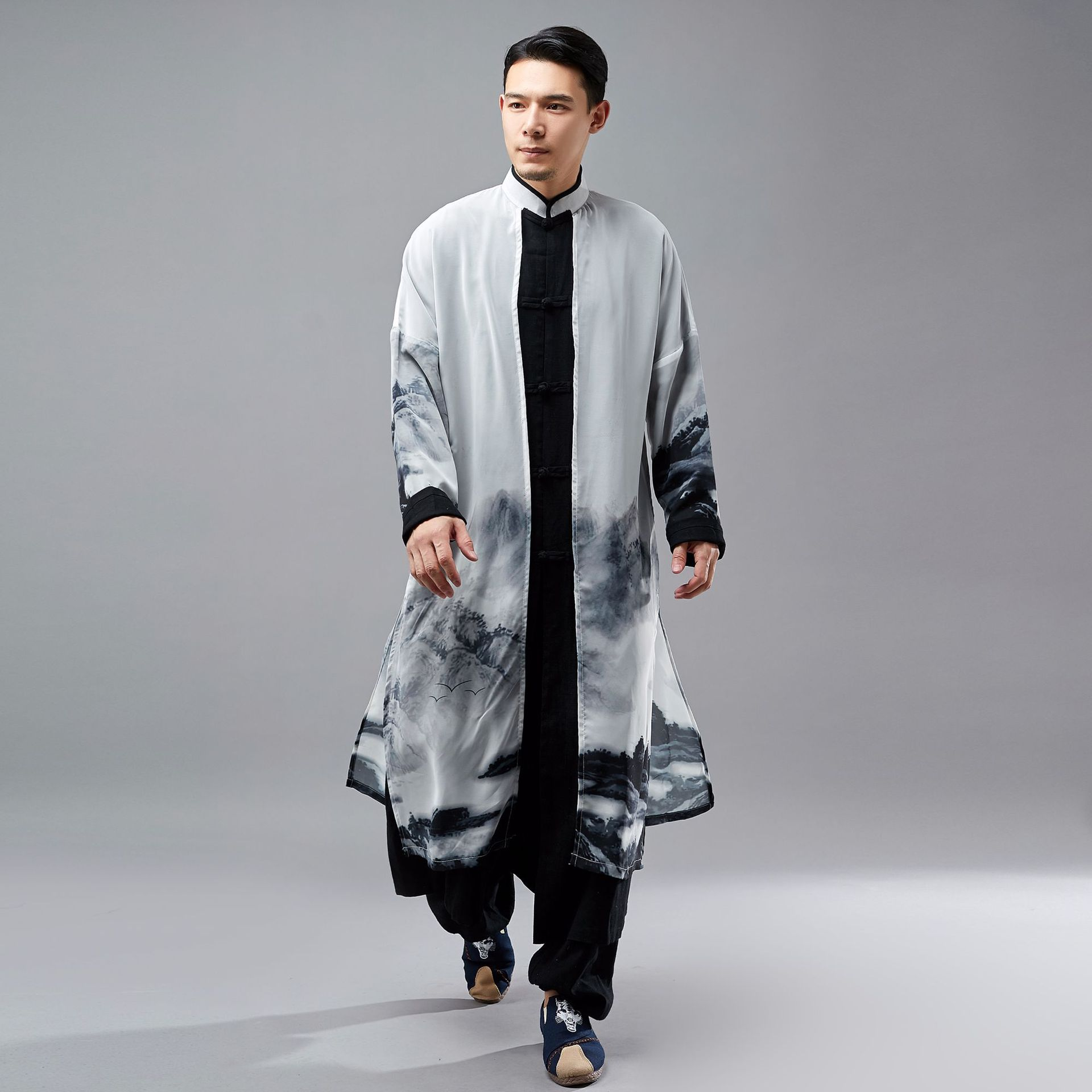 Men Chinese Style Spring Autumn Cotton Linen Chiffon Splice Long Shirt Trench Coat Male Casual Robe Jacket
