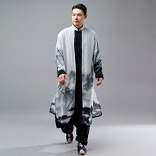 Men Chinese Style Spring Autumn Cotton Linen Chiffon Splice Long Shirt Trench Coat Male Casual Robe
