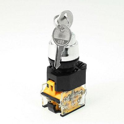 AC380V Three 3 Position Panel Mount Rotary Selector Select Switch Key Lock 1 no 1 nc three 3 positon rotary selector select switch latching 22mm