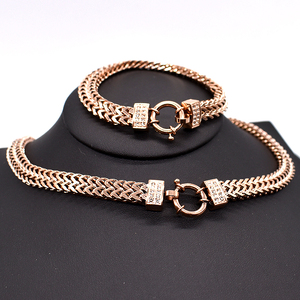 Image 4 - AMUMIU 2020 new arrival Men Chain Necklace Bracelet Sets Special Lock Stainless Steel Snake Women gold Color Jewellery HZTZ125