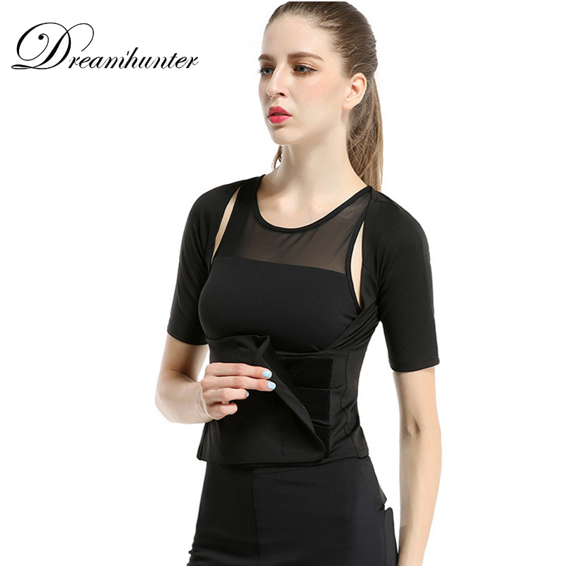 Elastic Women Running Shirts High Waist Tights Sweat Suit Clothes Compression Tops Body Shapers Fitness Clothing