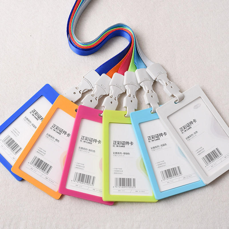 Peerless Pvc Id Badge Holder Vertical Credit Card Bus Cards Case Papelaria Cute Stationery Supplies With Lanyard Badged Reel Products Hot Sale Badge Holder & Accessories Office & School Supplies