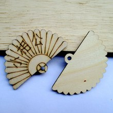 Free shipping, wholesale high quality New design  fan die cutting wood Angle DIY scrapbook 60mm*35mm 50pcs 017001070