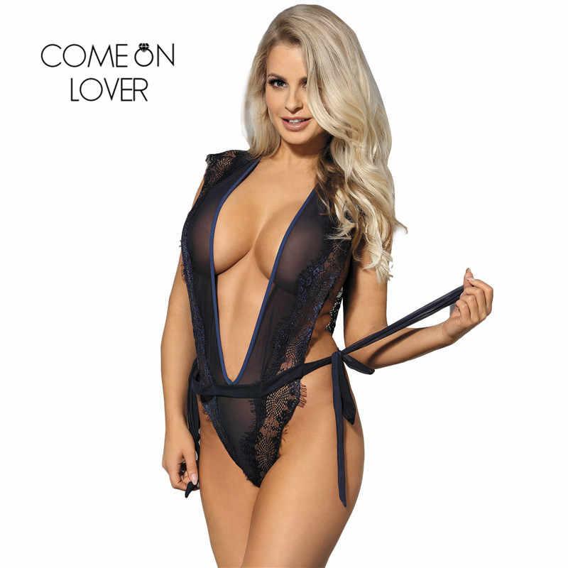 85877453e02 ... Comeonlover Bodysuit Transparent Blue Ribbon Sash Eyelash Chiffon Tenue  Sexy Femme Erotique Plus Size Body Sexy ...