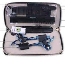 Professional Hairdressing Hair Scissors Cutting+Thinning scissors set with two comb blue 5.5 inch SMITH CHU 6cr13