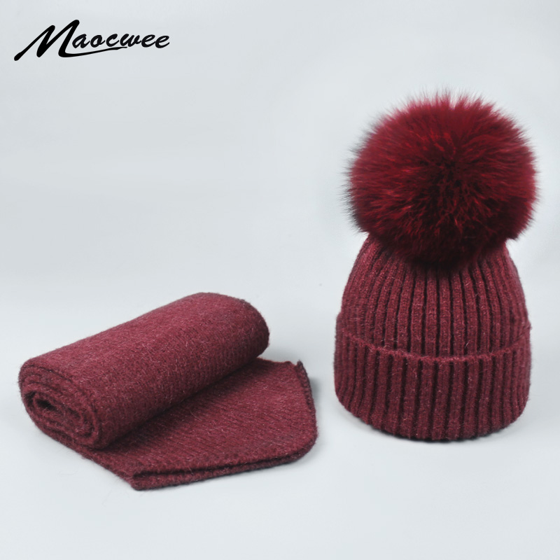 Women's Winter Scarf Hat Sets   Skullies   Thick Warm Fox Fur Pom pom Hat and Scarf Knitted   Beanies   Ski gorro Adult and Child Caps