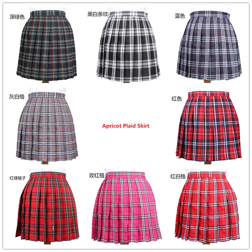 Hot Japanese Korean Version Short Skirts School Uniform Suit Jk Girl Pleated Half Skirt School A Word Lattice Pleated Skirt Tutu