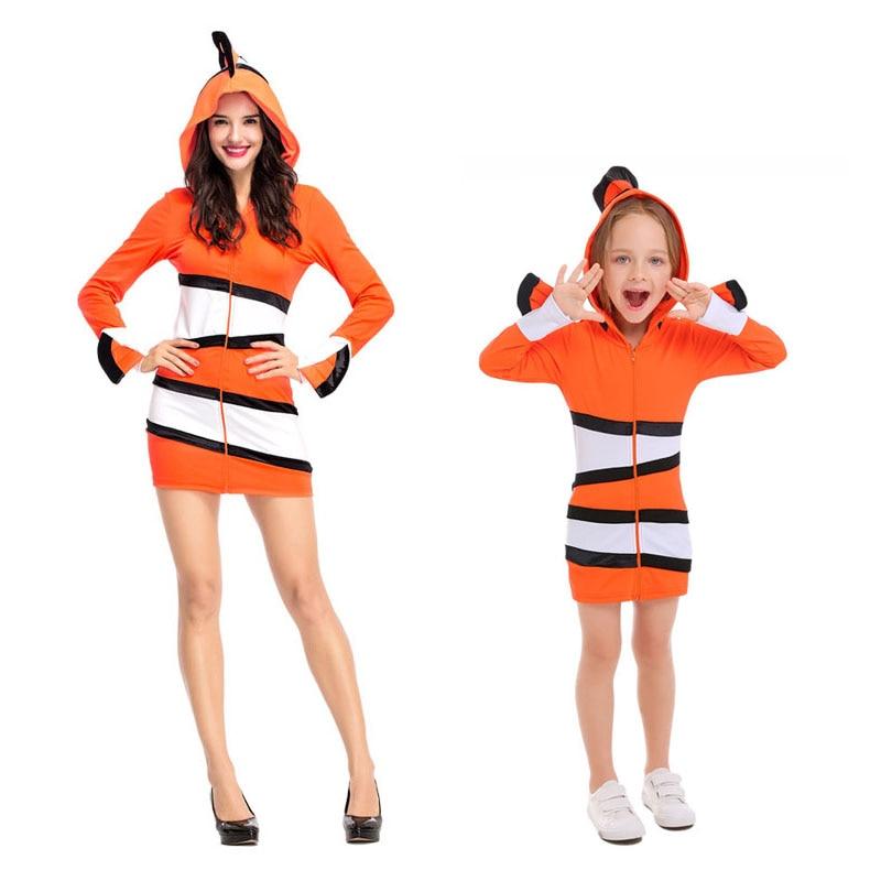 H & ZY mère et enfant Clown poisson robe Costumes Cosplay pour femme et filles mer thème fête Halloween mascarade scène Costume