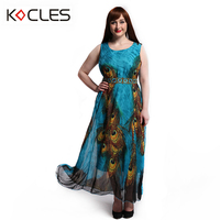 Plus Size 6 7XL Women Summer Holiday Bohemian Beach Elegant Maxi Pinup Chiffon Belted Peacock Print