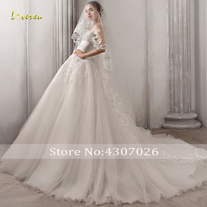 Image 3 - Loverxu מתוקה כדור שמלת חתונת שמלות אלגנטי Applique שרוולים תחרה עד הכלה שמלות משפט רכבת כלה שמלה בתוספת גודל