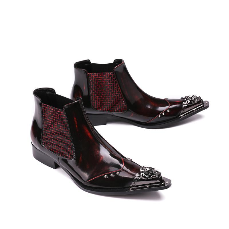 Auf Roten Arbeit Stiefel Neue Schuhe Slip Für Leder Spitz Red Design Aus Wine Chelsea Männlichen Büro Formale Männer 2019 Metall Italienische Echtem Kleid OSqxwTIq