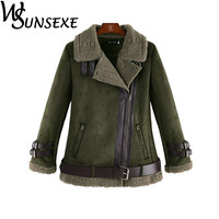 Faux Leather Suede Jacket Coat Women New Winter Warm Lamb Wool Zipper Stand Collar Black Motorcycle