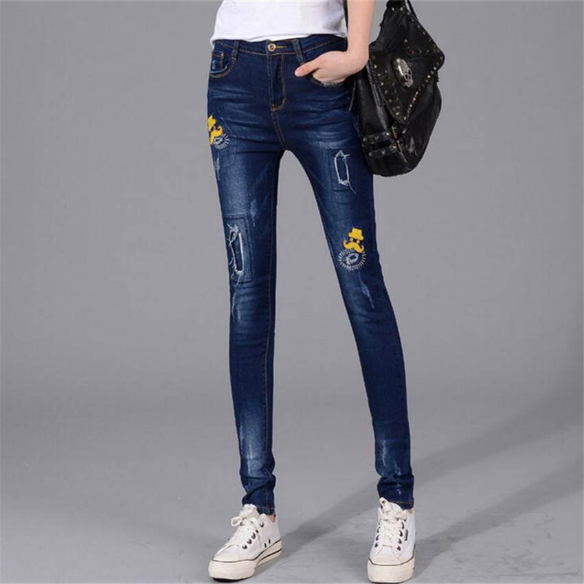 ≧Moda Do buraco Patch Bordado qualidade superior jeans mulher jeans ...