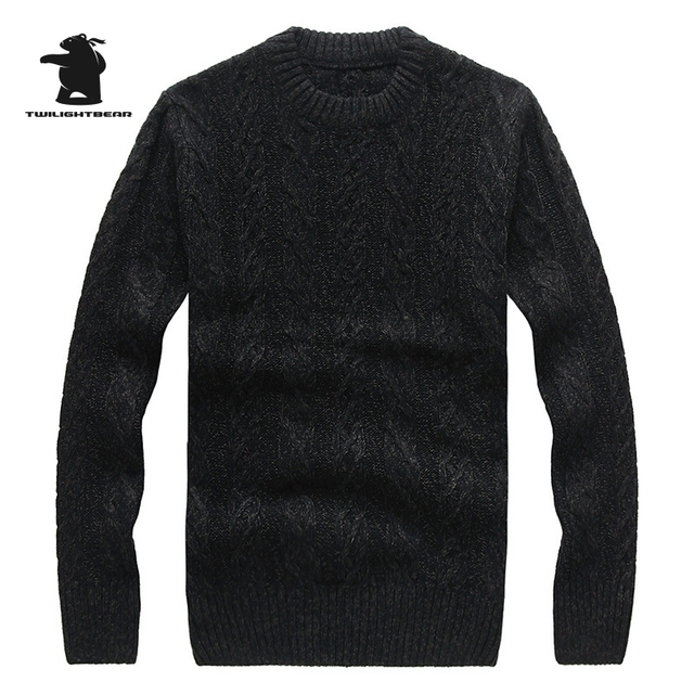 2016 New men's Sweater Winter Fashion Retro Solid Color Thick Woollen Lines Casual Sweaters For Men S~2XL CB12E7709