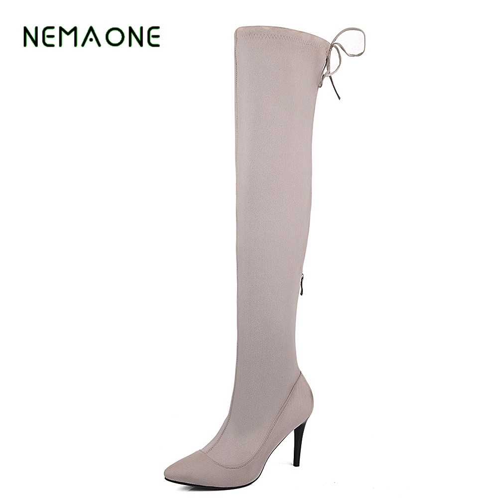 NEMAONE 2017 New spring autumn thigh high women boots platform round toe thin high heels over the knee boots