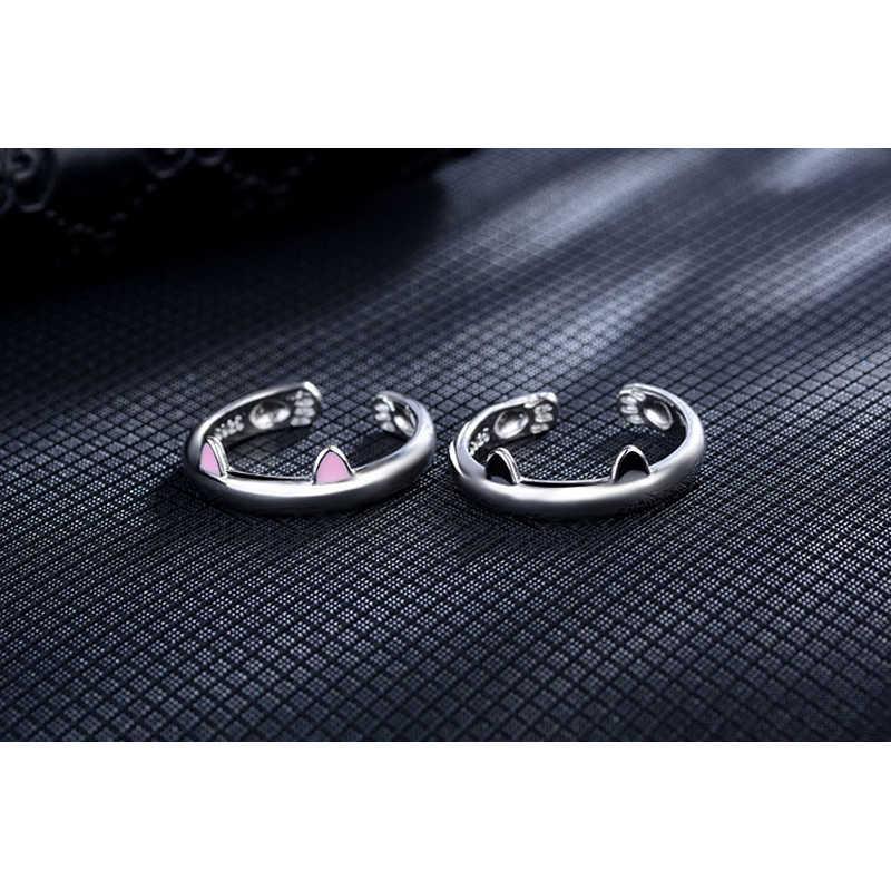 Kualitas Tinggi 925 Sterling Silver Pink Kucing Telinga Cincin Desain Lucu Fashion Perhiasan Cincin Kucing untuk Wanita Gadis Muda Anak hadiah