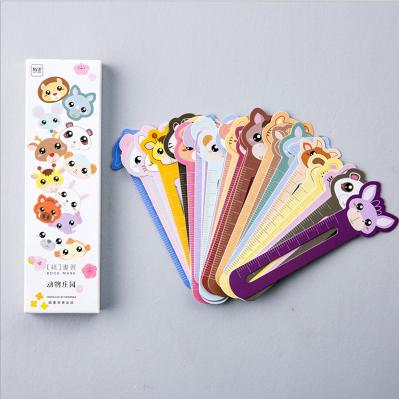 30 pcs/box creative zoo paper bookmark stationery bookmarks book holder message card school supplies papelaria