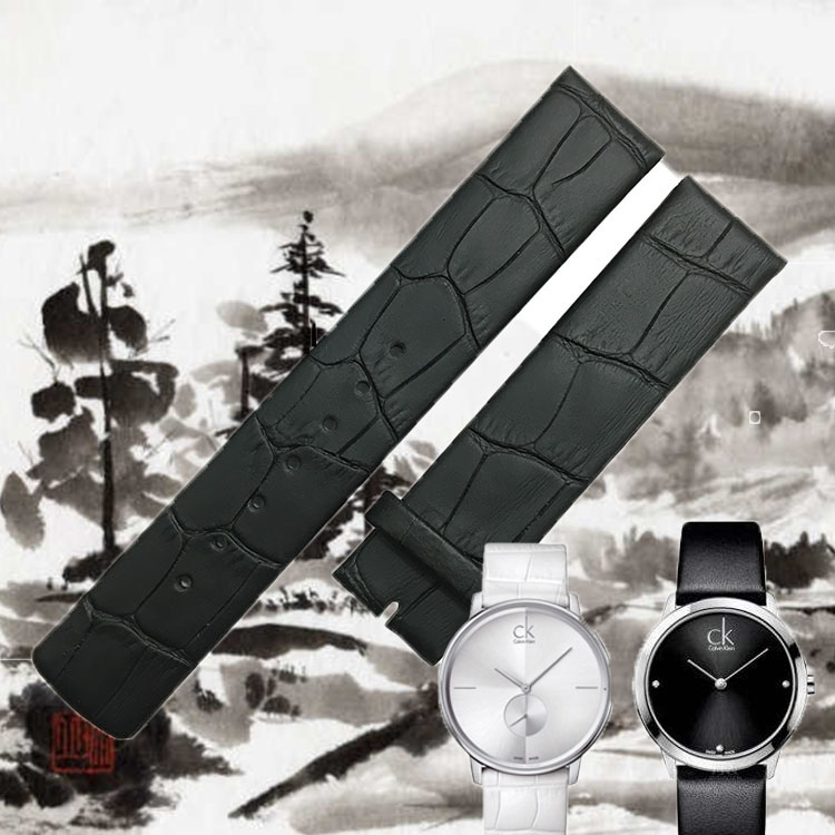 Ultra thin Watch Leather Strap White Black for K2Y211K2Y23 Calvin Klein 20mm Watch Accessories leather strap