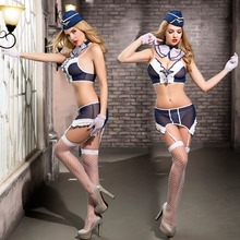 Airline Stewardess Uniform Women Sexy Lingerie Cosplay  Fancy Dress Exotic Apparel