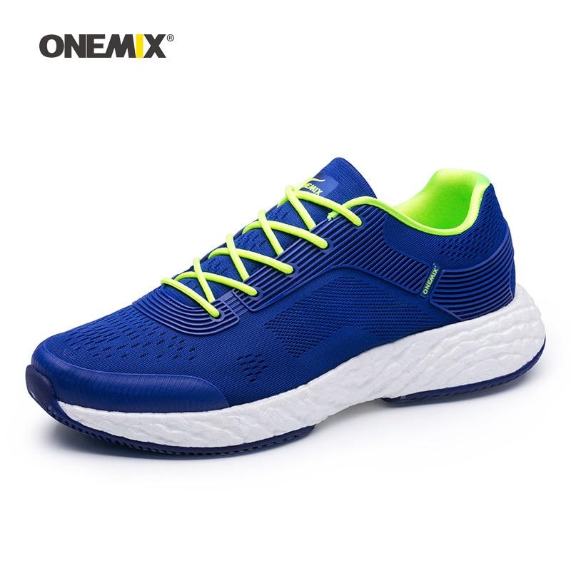 ONEMIX Man Running Shoes For Men Athletic Trainers Blue Run Zapatillas Tennis Sport Shoe Outdoor Walking