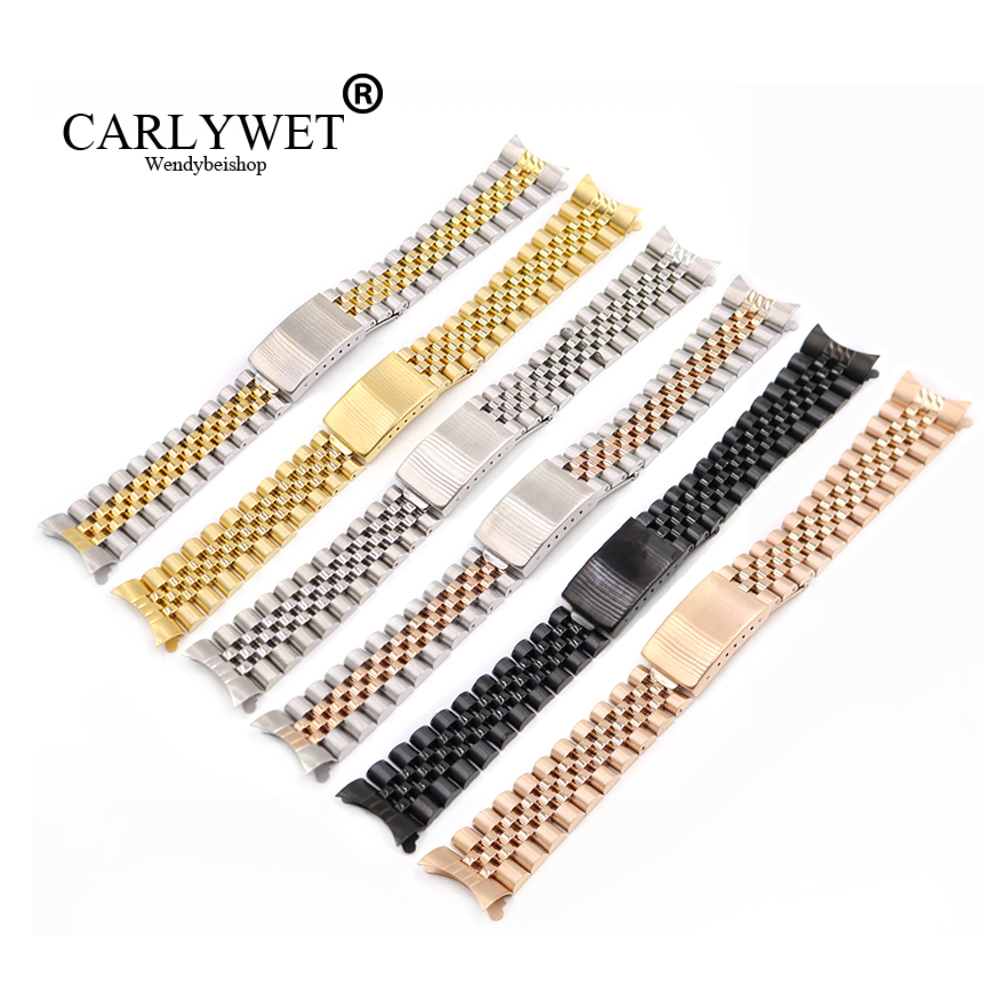 CARLYWET 13 17 19 20 22mm Wholesale Hollow Curved End Solid Screw Links Replacement Watch Band Strap Old Style Jubilee Dayjust carlywet 13 17 19 20mm wholesale 316l stainless steel two tone rose gold silver watch band strap oyster bracelet for dayjust