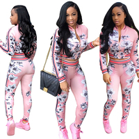 Hot Printed Two Piece Set Long Sleeve Women Set Trousers Casual Outfit Costume Plus Size Clothes Fashion Tracksuit Women Pink