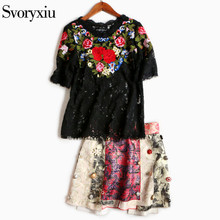 SVORYXIU Summer Runway Skirt Suit Women's Vintage Floral Embroidery Black Lace Top + Diamonds Button Asymmetrical Half Skirt