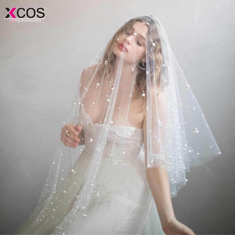 In Stock One Layer Fingertip Veil Pearls ivory wedding Accessories Cut Edge Bridal Veils voile de mariee