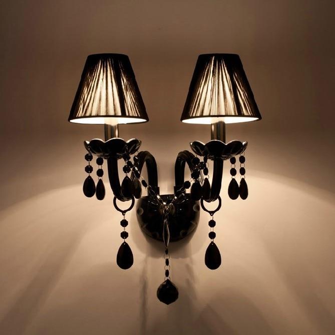 2016 nouvelle lampe murale en cristal noir bougie Led E14 ampoules noir soie tissu abat-jour 2 lumières livraison gratuite CCC et CE NS *