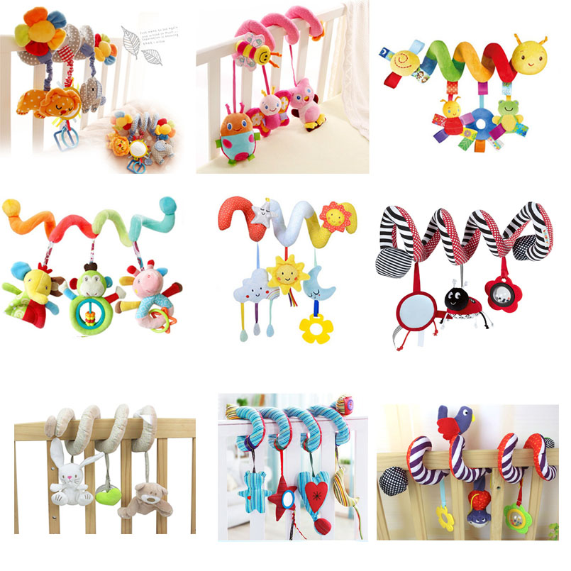 Baby Stroller Toys Cute Animals Rattle Bed Crib Car Hanging Stroller Spiral Plush Appease Toys Teether Developmental Rattles Toy khs khs khs enfs lk