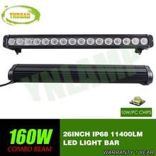 26inch 160w  CREE single row Led Light Bar Driving Offroad Light Spot/flood/combo 10V- 70V 11400LM for 4x4 ATV UTV USE IP68 стоимость