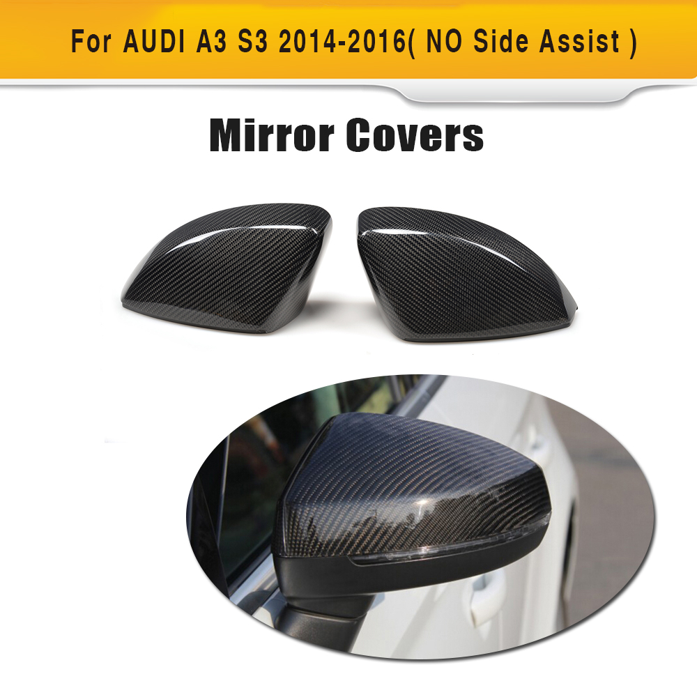 Carbon Fiber Replace Car Side Rearview Mirror Covers Caps shells for Audi A3 S3 2014 2015 2016 without Side Assist Chrome ABS