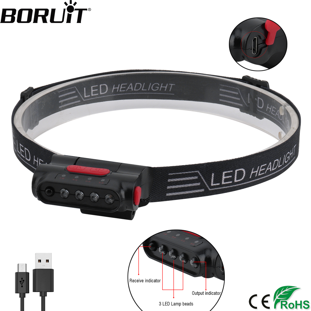 BORUiT Smart Induction LED Headlamp USB Rechargeable Motion Sensor Headlight IPX4 Waterproof Head Torch Hat Clip Flashlight