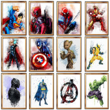 Karakter Superhero Pola 5D Diy Penuh Diamond Lukisan Cross Stitch Kit Diamond Bordir Cat dengan Berlian Gambar(China)